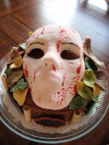 My entry for our UCR Libraries' Staff Edible Book Contetst, 2012 - The Masque of the Red Death!  On a delicious chocolate-caramel layer cake, no less.